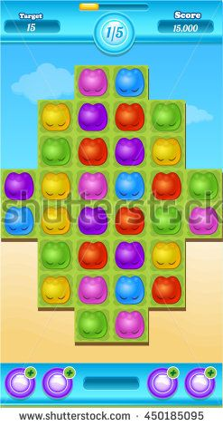 Mobile Reskin - Match 3 items / Jelly Game Asset with GUI  - stock vector