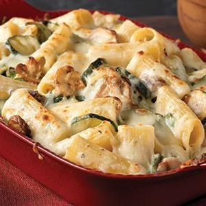 Creamy Zucchini, Mushroom and Spinach Rigatoni - LAZ notes:  Delicious!  A yummy dinner for my peeps who are growing zucchini and are running out of ideas for it. A vegetarian's delight - although I could never cross over. If I did  this would surely be on my rotation!  Yummy!  A keeper for sure!