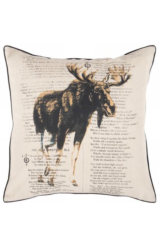 Surya Moose Decorative Pillow Khaki