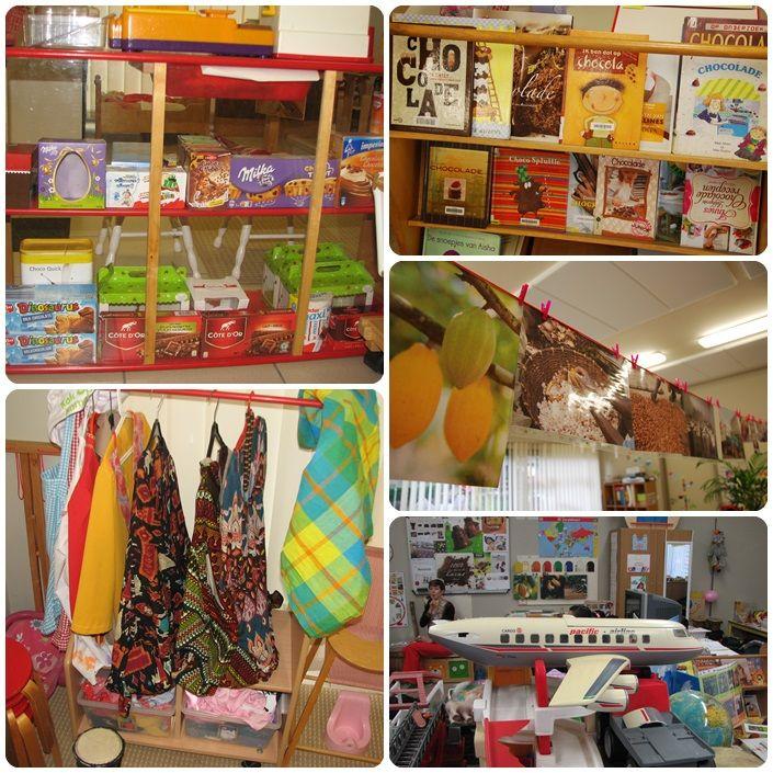 Chocoladewinkel Chocolade in de boekenhoek Verschillende vervoersmiddelen: hoe geraakt chocolade tot bij ons? Kledij uit Afrika (mondiaal werken rond chocolade)