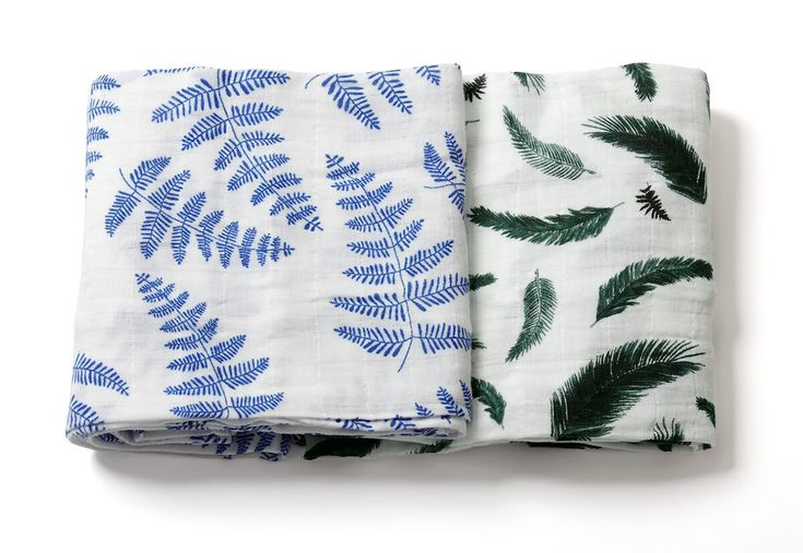 Organic Swaddle Blankets - Blue Fern & Green Feather