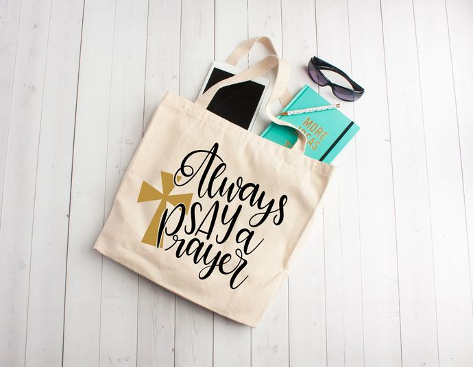 Always Say a Prayer Custom tote bag, custom name totes, totes for bible study, personalized gifts by Pretty Party Favors, $6.00 USD