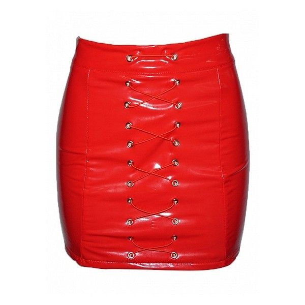 Choies Red High Waist Eyelet Lace Up Front Leather Look Mini Skirt (1,080 INR) ❤ liked on Polyvore featuring skirts, mini skirts, red skirt, high waisted short skirts, red mini skirt and high rise skirts