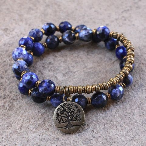 rich faceted blue gemstones in this cool 27 bead mala wrap bracelet!