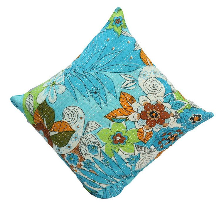 Home Decor Indian Cotton Beach Kantha Floral Designs Cases Pillow Cushion Cover