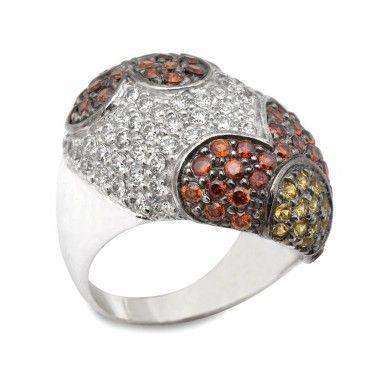 Μεγάλο βαρύ παβέ δαχτυλίδι λευκόχρυσο Κ14 με λουλούδια με πράσινες, κόκκινες και λευκές πέτρες ζιργκόν | Δαχτυλίδια ΤΣΑΛΔΑΡΗΣ στο Χαλάνδρι #παβε #ζιργκον #λευκοχρυσο #δαχτυλίδι