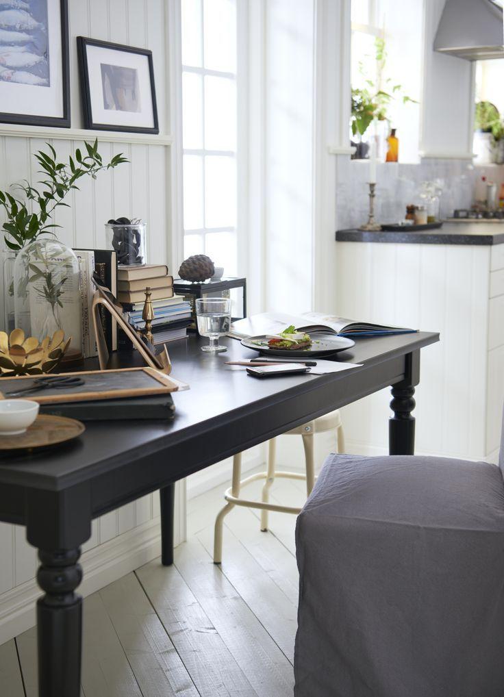 Ingatorp uitschuifbare tafel zwart zwart ikea keuken for Ikea kinderstoel en tafel