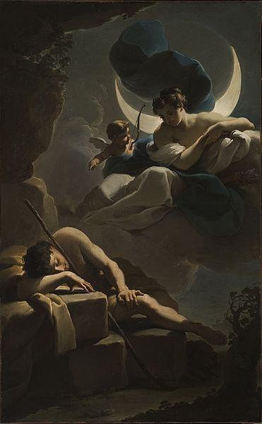 Άννα Αγγελοπούλου: Ενδυμίων και Σελήνη. Εικόνες από τον μύθο του Ενδυμίωνα-  Ο Ενδυμίων ήταν ένας όμορφος νεαρός βοσκός από την Καρία της Μ. Ασίας, τον οποίο ερωτεύτηκε η κόρη του Δία, η Σελήνη, όταν τον είδε να κοιμάται αμέριμνος σε μία βουνοπλαγιά μπροστά από την είσοδο ενός σπήλαιου. Παρακάλεσε τον Δία να τον αφήσει να κοιμάται αιώνια, για να μη φθαρεί η ομορφιά του από τα γηρατειά και για να μπορεί να τον επισκέπτεται κάθε βράδυ.Ubaldo Gandolfi, Σελήνη και Ενδυμίων, Γύρω στα 1770.