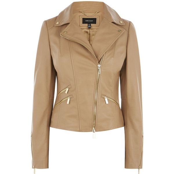TAN LEATHER BIKER JACKET (41.140 RUB) ❤ liked on Polyvore featuring outerwear, jackets, motorcycle jacket, fitted jacket, rider leather jacket, leather jackets and beige jacket