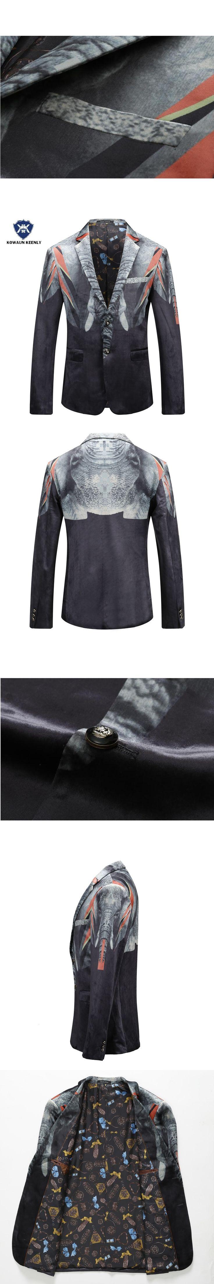2017 Autumn Men Slim Fit  Casual Blazer For Men Printed Blazer Party Men Velvet Blazer Suit Jacket Prom Blazer For Men