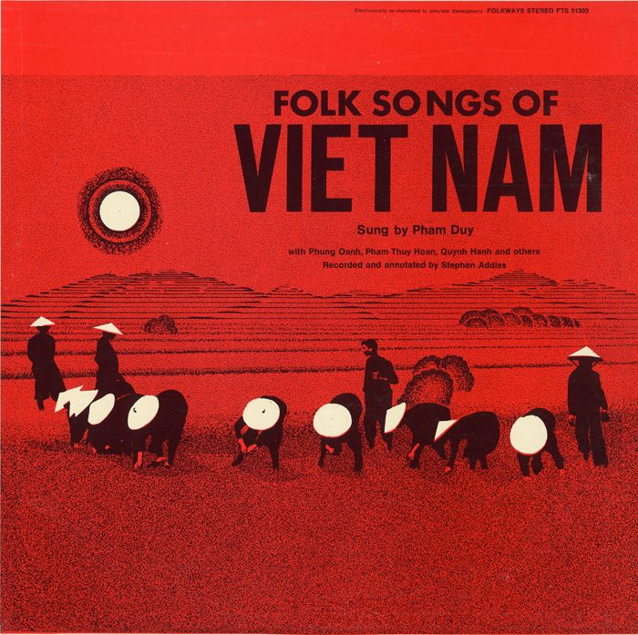 """Vietnam's musical heritage is so rich and diverse that each region- North, Central, and South- produces a unique music of its own. As the liner notes indicate, """"no song repeats in any two regions of Viet Nam."""" The album presents traditional folk songs from each region, showcasing the music that singer Pham Duy discovered. The songs are sung by professional vocalists, each representing their native region of Vietnam.  Cover Design: Zetlan & Stephens: Album Covers, Vietnam Inspiration, Music Packaging, Vietnam War, Smithsonian Folkway, Tropical Locations, Vietnam People, Vietnam Music, Folk Songs"""