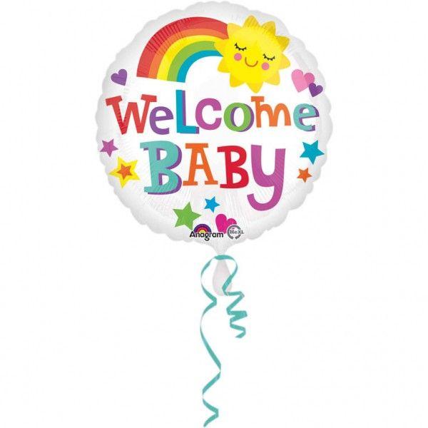 Poze Balon botez folie metalizata 43cm Welcome Baby Bright
