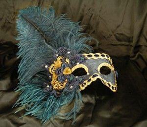 Electra MT20 Blue hand-made papier-mâché mask decorated with fabric, velvet,  brocade fabric, Swarovski and plume.