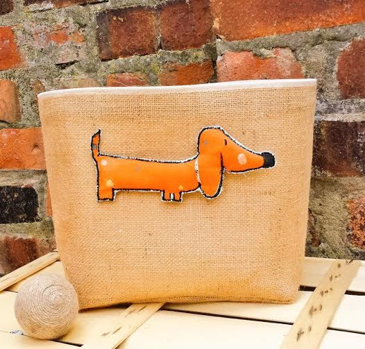 DOG TOYS BASKET Large Jute Hessian Burlap Storage Organizer Bag Canvas Reversible Box Handmade Rustic Fabric Gift