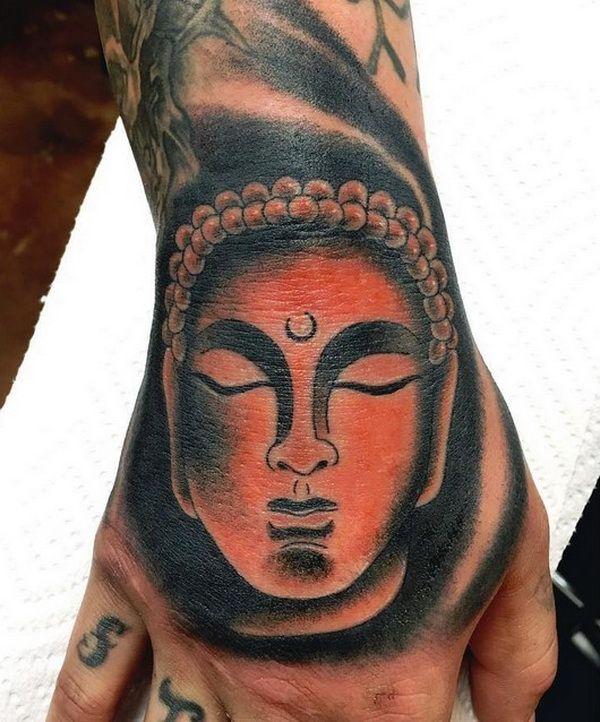 Face Of Buddha Palm Hand Tattoo Design Co0l Hand Tattoos
