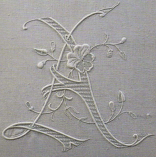 embroidered initial A, from an old, long out-of-print Italian book on beautiful monogram embroidery.