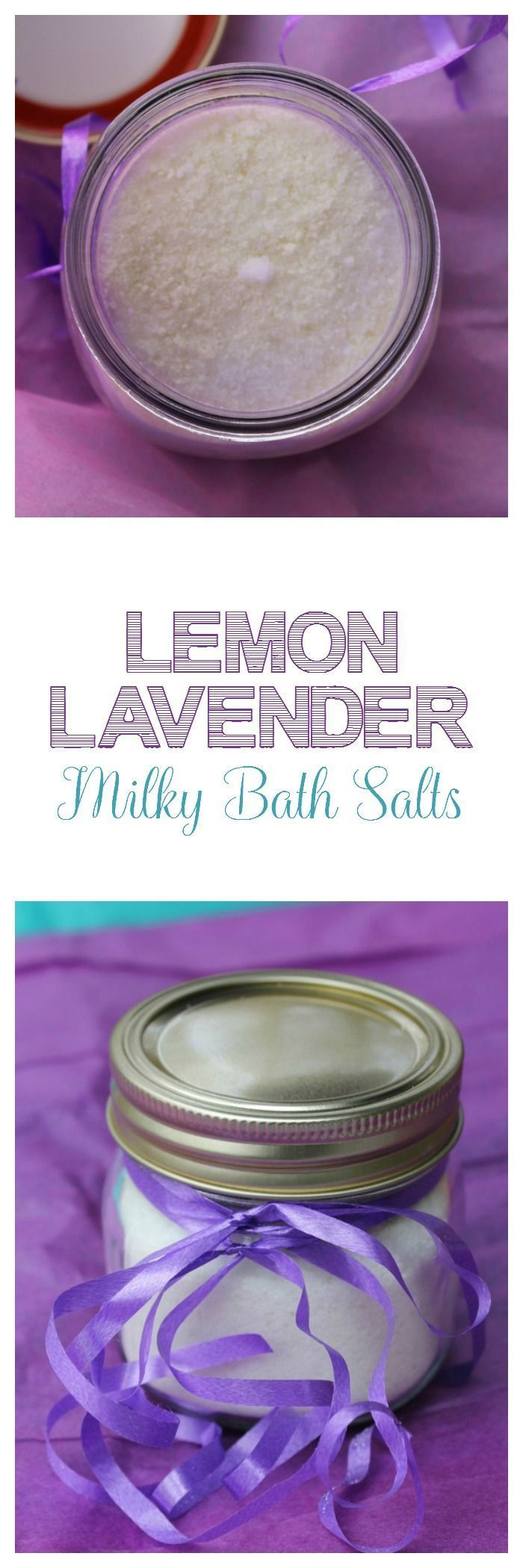 Lemon Lavender Milky Bath Salts DIY: Makes the perfect Mother's Day gift idea! #LemonSaltScrubRecipe