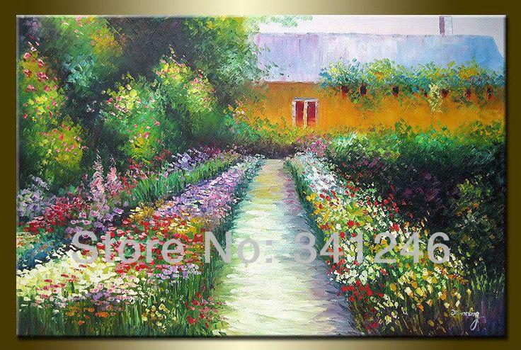 Ручная роспись привет алмазы-q огромный размер современный стены искусства домашнего декора сельскую жизнь деревенский деревенский пейзаж картина маслом на холсте цветники