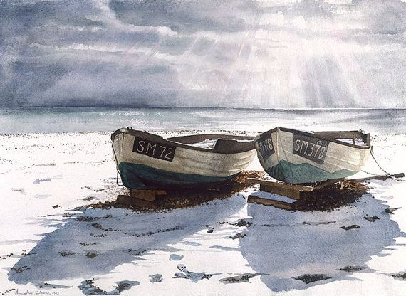 Watercolour Giclée print boats on a snow covered por AnneliesClarke, £75,00