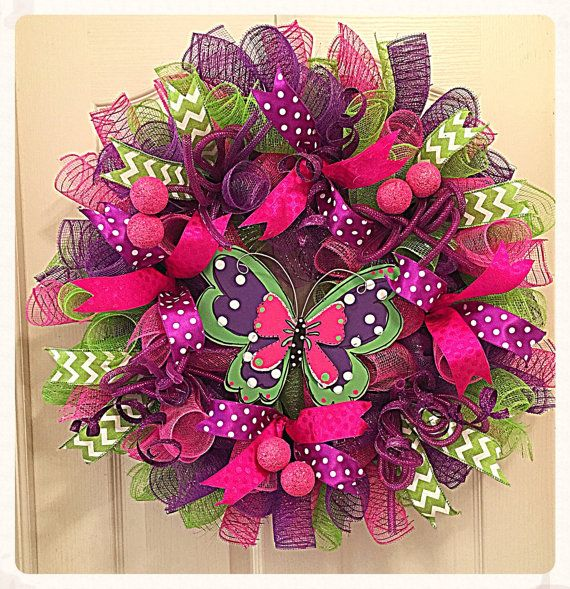 Butterfly Deco Mesh Wreath/Purple, Pink and Lime Butterfly Wreath/Spring and Summer Butterfly Wreath/Butterfly Wreath