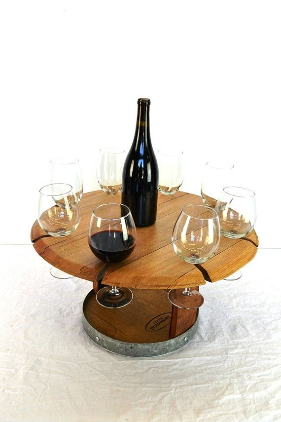 Wine Barrel Head Lazy Susan Serving tray V3- French Oak 100% recycled