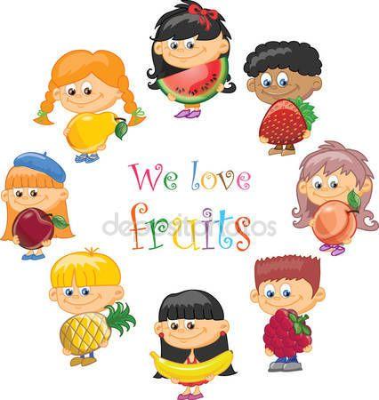 Baixar - Crianças desenhos animados com frutas e legumes — Ilustração de Stock #23216882