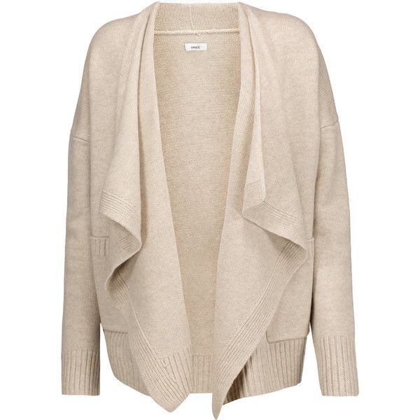 Vince - Draped Wool And Cashmere-blend Cardigan featuring polyvore, women's fashion, clothing, tops, cardigans, beige, wool cardigan, cardigan top, pink wool cardigan, drape cardigan and draped tops