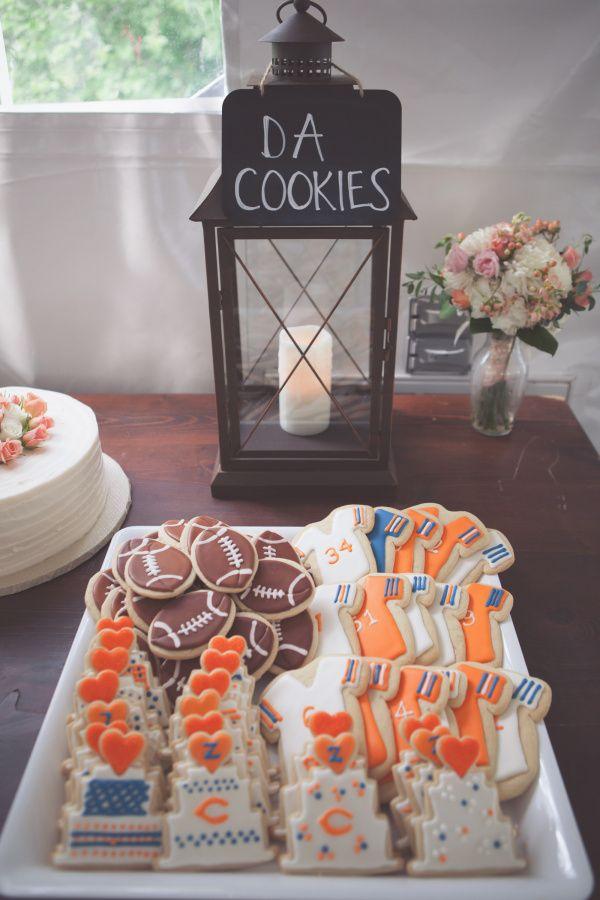simplysocialblog.com Chicago Bears sugar cookies, cake table, spring wedding ideas, grooms cake alternatives, Chicago Bears cookies, iced sugar cookies, NFL, tent reception