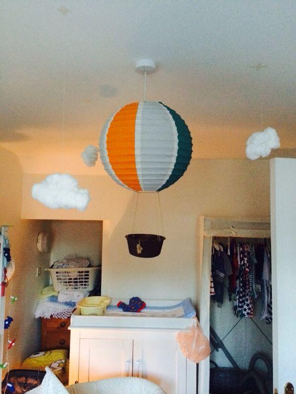 Hot air balloon light shade for baby's nursery