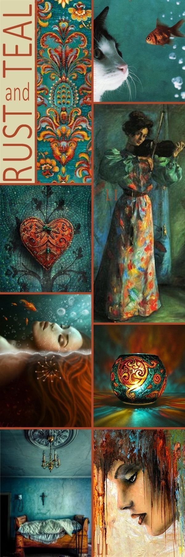 Mood board/ color scheme: Rust and Teal