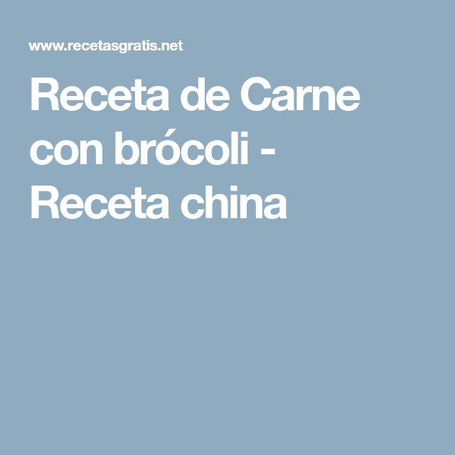 Receta de Carne con brócoli - Receta china