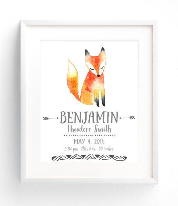 Custom Birth Stats Wall Art - Watercolor Nursery Decor - Woodland Animals Birth Announcement - Fox Nursery  Customize your nursery wall art with