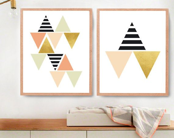 Welcome and thank you for visiting my MelimebabyArt shop!  Black, White and Gold Geometric Triangles Baby Wall Art (BabyArt E4-E5):  Two Images
