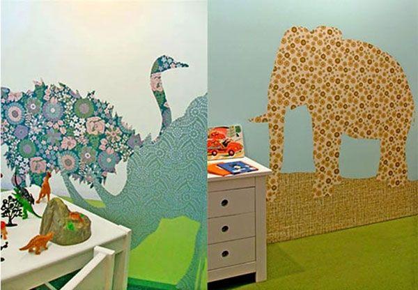 Творческий декор стены обоями в детской комнате