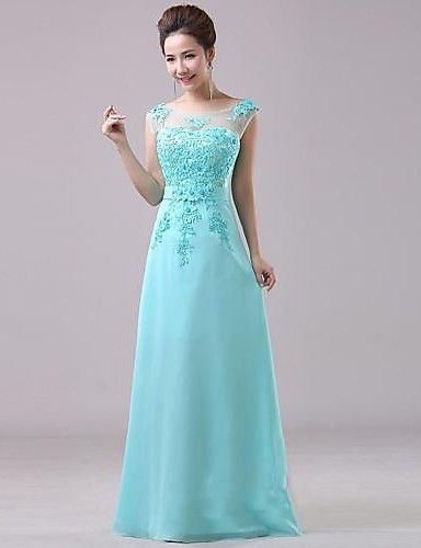 A-line Jewel Floor-length Chiffon Evening Dress – USD $ 99.99