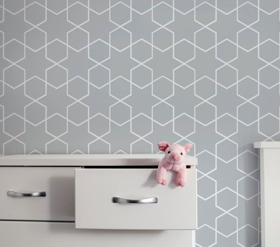 Removable Fabric Wallpaper, Seamless Moroccan Print, Peel&Stick, Reusable, DIY Re-positionable Self adhesive, for home and business