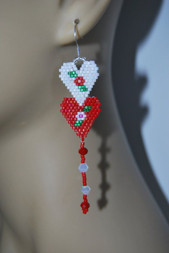 Double Heart Rose Red Pearl Valentines delica seed beaded Boho Hippie Native style 3 plus hand beaded earrings