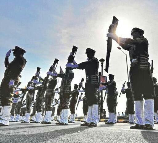 For fallen colleagues     In memoriam: Policemen pay homage to those who laid down their lives in action, at the Police Martyrs Memorial on Beach Road during the Police Commemoration Day in Visakhapatnam on Friday. — Photo: K.R. Deepak