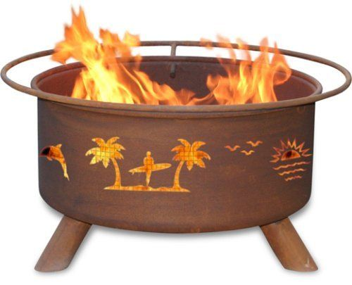 Patina Products F117,  30 Inch Pacific Coast Fire Pit by Patina. $229.99. Portable design allows fire pit to move easily from patio to beach. Wire mesh lines the inside of the firepit to prevent sparks and embers escaping through the cutout design. Natural rust patina finish ages beautifully over time. Five-year warranty: Fire pits guaranteed not to burn through or rust through for five years.. Comes fully assembled for immediate use. From Washington to California the ...