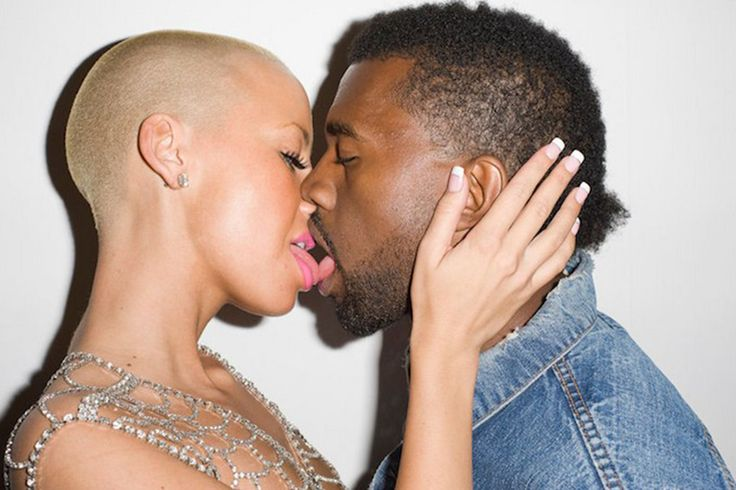 Terry Richardson photography. Kanye West and Amber rose kissing. BRON: http://www.kiss925.com/2016/02/23/9-of-couples-kiss-at-least-10-times-a-day-6-barely-ever-kiss/