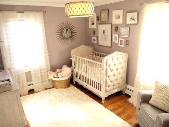 Drum pendant light in nursery: Nursery Idea, Nurseries, Purple, Wall Color, Baby Girl, Baby Room, Baby Nursery, Project Nursery