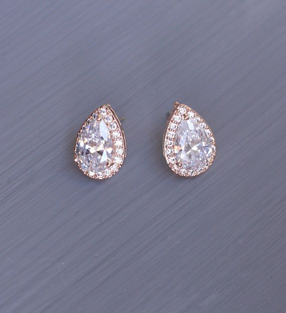 Rose Gold Wedding Earrings Teardrop Stud by AuroraLuxeBridal