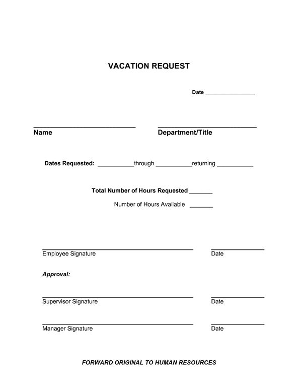 vacation request form sample forms letter templates free example format download