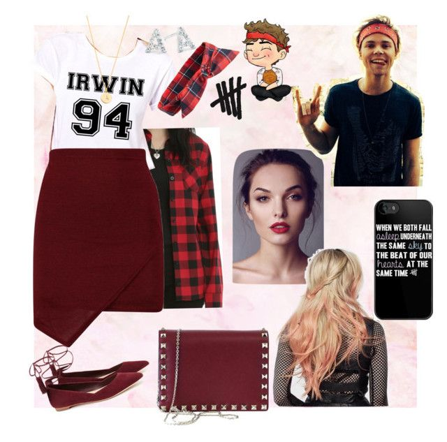 """""""What a perfect day, ash."""" by chechylmiliani on Polyvore featuring Loeffler Randall, Topshop, Valentino, Kate Spade, Belk Silverworks, date, 5sos, ashton and Irwin"""