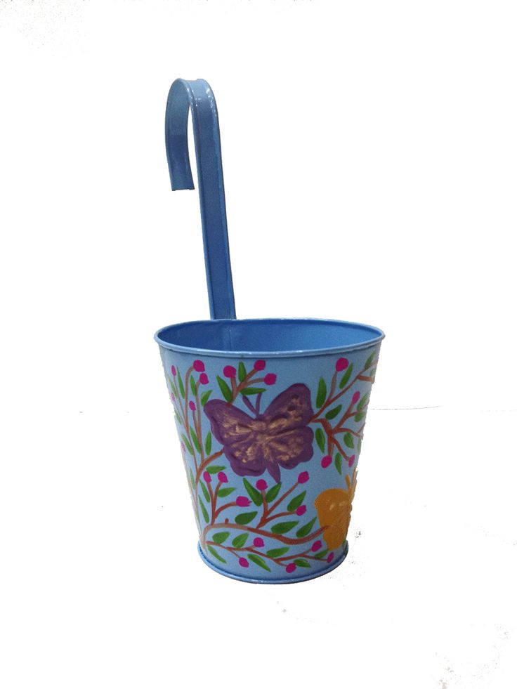 Beautiful Hanging Plant Pot.  Two butterfly on it with hand painting Make beautiful your balcony railing with hanging plant Pot.