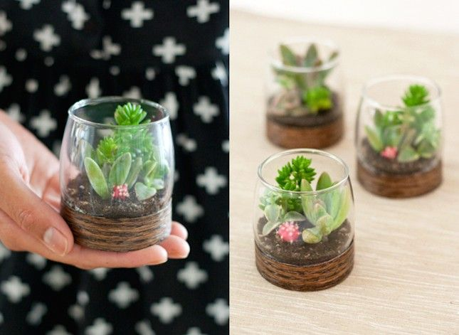 DIY Wood Base Terrariums:  23 Teeny Tiny Party Favors You Can DIY via Brit + Co