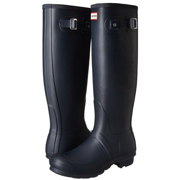 Hunter Original Tall (Navy) Women's Rain Boots (£120) ❤ liked on Polyvore featuring shoes, boots, knee-high boots, wellington boots, rain boots, knee high rain boots, navy blue boots and tall rain boots