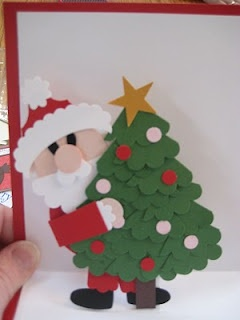 Punch Art Santa with Tree - looks like it could be made from scalloped circles, maybe?