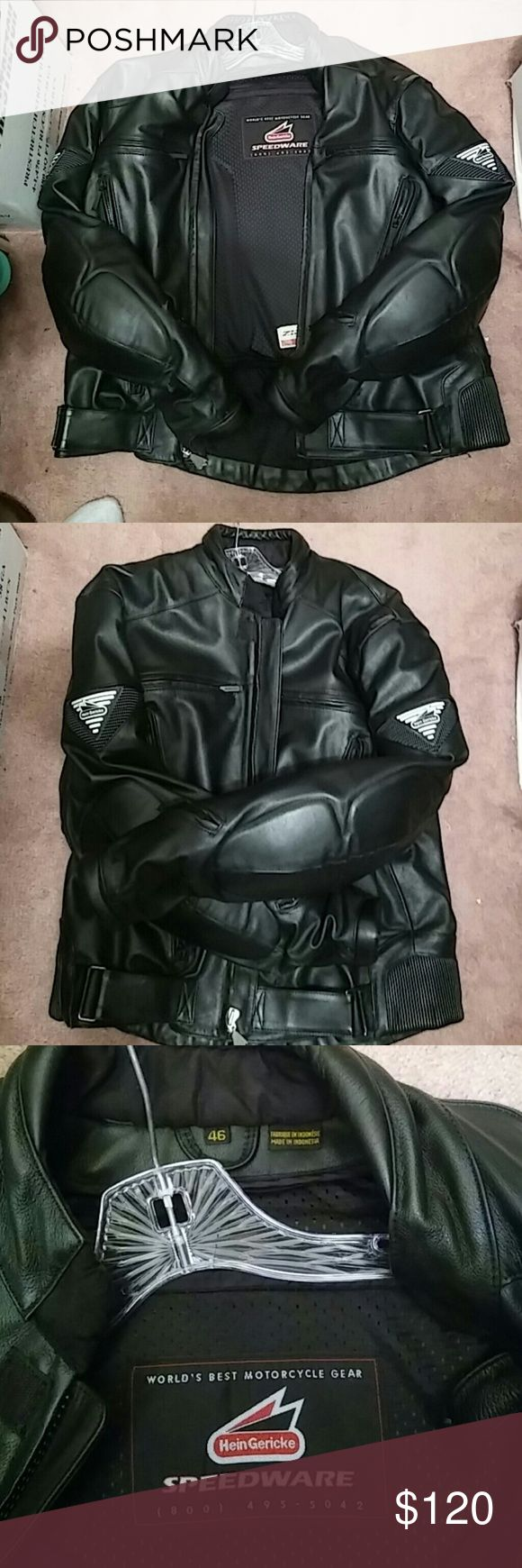 Motorcycle Leather Jacket..AUTHENTIC GEAR!!! BLACK FRIDAY SALE Size is both MEDIUM, LARGE and almost extra large. Purchased this just over 2yrs for $485!!!..This is Authentic Gericke Motorcycle Gear . The only signs of use is a tiny scratch/ hole/tear  like 8mm diameter behind the right wrist side of the jacket and a tiny..really tiny peel on the shoulder through accident. This gear weigh approx 13-18lbs... Very heavy and made from genuine leather. All protective foams on shoulder and arms…
