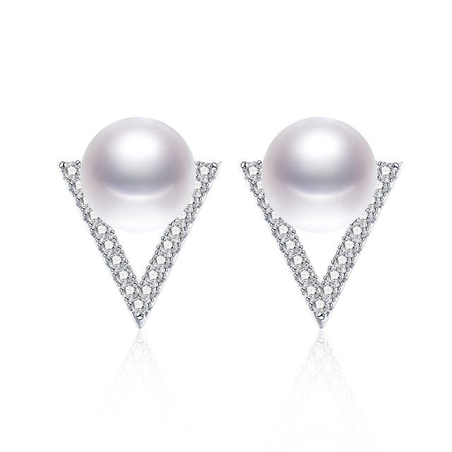 VEAMOR High Quality 316 L Stainless Steel Earrings for Women Perfect Circle Stud Earrings Pearl Jewelry 8-9mm With Beautiful Box